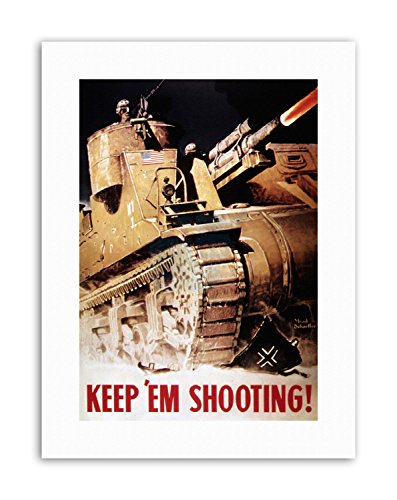 Wee Blue Coo LTD WAR WWII USA Tank Gun Army Home Deco Military Canvas Art Prints - Art-deco-tank