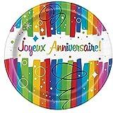 Unique Party - 56905 - Paquet de 8 Assiettes en Carton - Joyeux Anniversaire Nœuds Arc-En-Ciel - 23 Cm