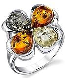 Damen Sterling Silber Baltischen Bernstein Kleeblatt Ring Mit Multi Farbe, Bequemlichkeit Passen Größe 59
