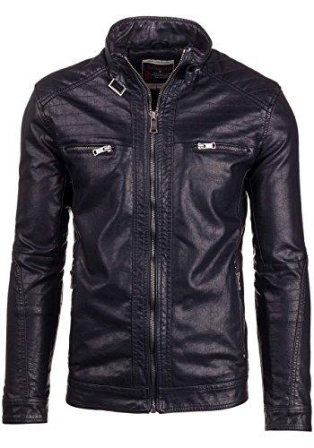 BOLF Ökolederjacke Herrenjacke Sweatjacke Zipper Sweatshirt FEIFA FASHION 9103 Schwarz_278