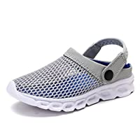 KVbaby Unisex Kids Mesh Slipper Sandals Summer Breathable Clogs Garden Holiday Slip On Shoes Shower Beach Mule Sandal Grey