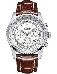 Megir–Reloj de deporte para hombre, con cronógrafo, esfera grande, Calendario, movimiento de cuarzo, con correa de piel