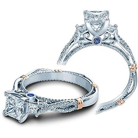 Lilu gioielli matrimonio fidanzamento in argento Sterling 925principessa Cut Tre Pietra Anello con zaffiro blu