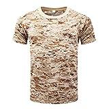 YuanDian Herren Sommer Freizeit Outdoor Camouflage Shirt Mesh Tarnfarben Bluse Multifunktions Atmungsaktiv Schnell Trocknend Kurzarm Hemd Tarnmuster Top Digitale Wüste XL