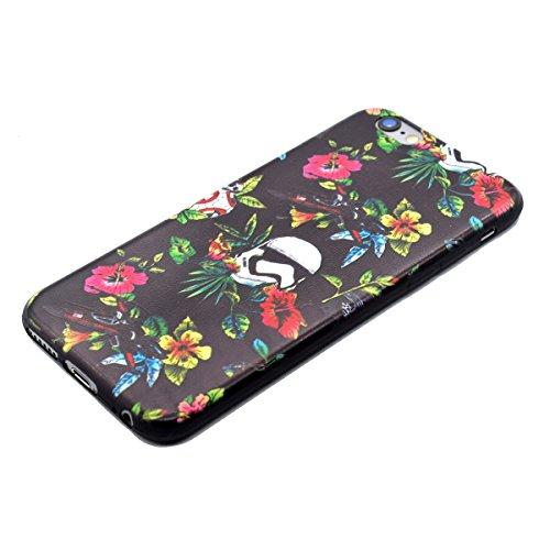 Felfy Hülle für iPhone 6,iPhone 6S Case Crystal Hülle Klare Ultradünne Silikon Gel Schutzhülle Durchsichtig Muster Kristall Transparent TPU Silikon Schutz Handy Hülle Case Tasche Etui Bumper für Apple Dunkle Blumen Tasche