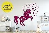 Wandtattoo Einhorn mit Sternen - Made in Germany - in verschiedenen Farben und Größen - Kinderzimmer Mädchenzimmer Babyzimmer Wandaufkleber Wandsticker (110cm x 100cm, violett)