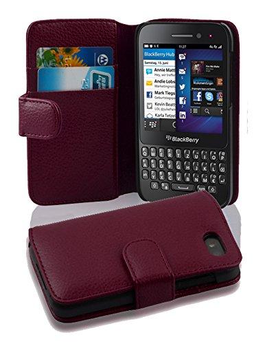 Cadorabo Hülle für Blackberry Q5 - Hülle in BORDEAUX LILA – Handyhülle mit Kartenfach aus struktriertem Kunstleder - Case Cover Schutzhülle Etui Tasche Book Klapp Style