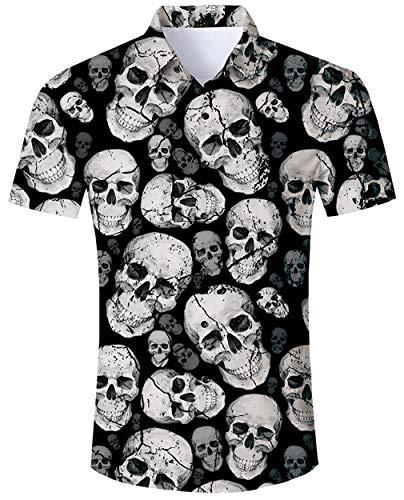ALISISTER Halloween Shirts Herren Jungen 3D Coole Schädel Muster Halloween Festival Party Benutzerdefinierte Button Down Kurzarm Hemd (Benutzerdefinierte Spandex Kostüm)