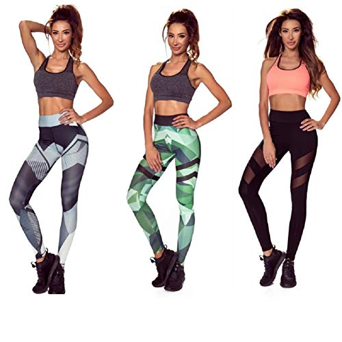 Amazinggirl 3er Pack Damen Sport Leggings Yoga Trainings Hohe Taille Sporthose Stretch Hose Jogginghose Yogahosen (S, MIX)