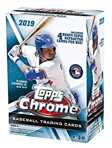 Topps 2019 Chrome Baseball Retail Blaster Box (8 Packs/4 Karten: 4 Sepia...