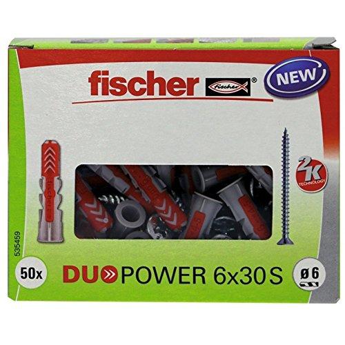 fischer DUOPOWER 6 x 30 S - Universaldübel mit Senkkopfschraube für eine Vielzahl von Baustoffen - Allzweckdübel für Schilder, Leuchten, Briefkästen uvm. - 50 Stück - Art.-Nr. 535459 (Beton Dübel)