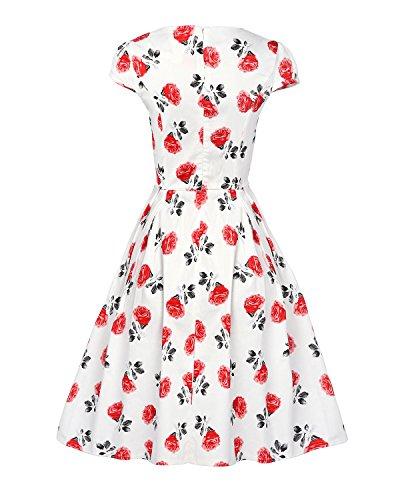 MISSMAO 1950's Vintage Audrey Hepburn Robe de Soirée Cocktail Rockabilly Swing Rétro Jupe Coton Blanc & Rouge Fleur