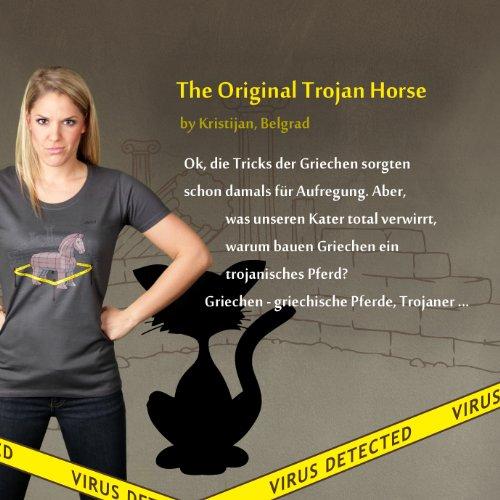 The Original Trojan Horse - Damen T-Shirt von Kater Likoli Anthrazit