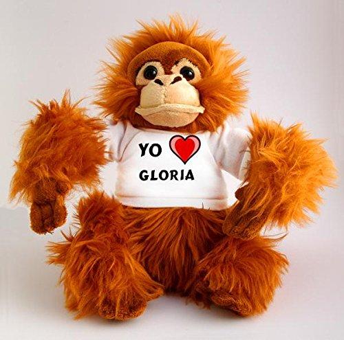 Orangután de peluche (juguete) con Amo Gloria en la camiseta (nombre de pila/apellido/apodo)