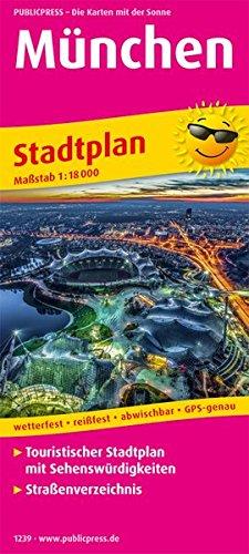 München: Touristischer Stadtplan mit Sehenswürdigkeiten und Straßenverzeichnis. 1:18000 (Stadtplan / SP)
