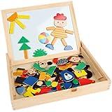 iknowy bloques de dibujos animados de madera w/Case tablero de dibujo magnética diversión creatividad juguete