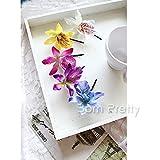 Pretty Orchid Shaped Hair Clip Glam flower Hair Clip 1 Pc # YELLOW