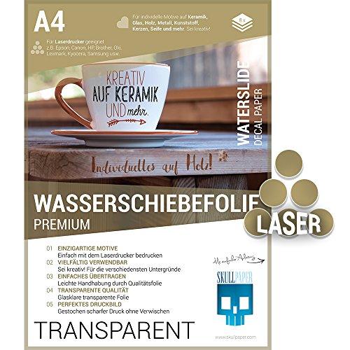 SKULLPAPER Wasserschiebefolie transparent zum Übertragen auf Keramik, Glas, Holz, Kerzen und mehr - 8 Bögen A4 für Laserdrucker (Folie Tassen)