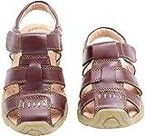 Gaatpot Enfant Sandales et Nu-Pieds en Cuir Bébé Chaussure Sandales Bout Fermé Chaussure d'été pour Garçon Fille Marron 29.5 EU(31 CN)
