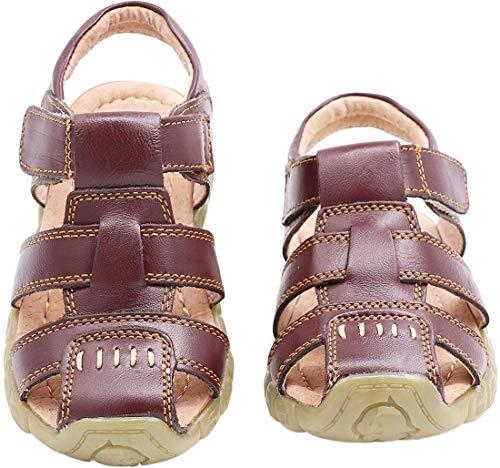 Gaatpot Unisex-Kinder Sandalen Mädchen Jungen Kindersandale Geschlossene Leder Sandale Sommer Sandaletten Lauflernschuhe Schuhe Braun 31 EU/32 CN