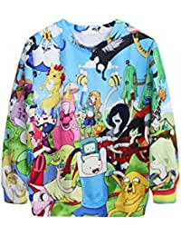 Ninimour Fashion Adventure time Damen Digital Eindruck Sweatshirt Pullover Frühling Herbst Streetwear (petite, APL002)