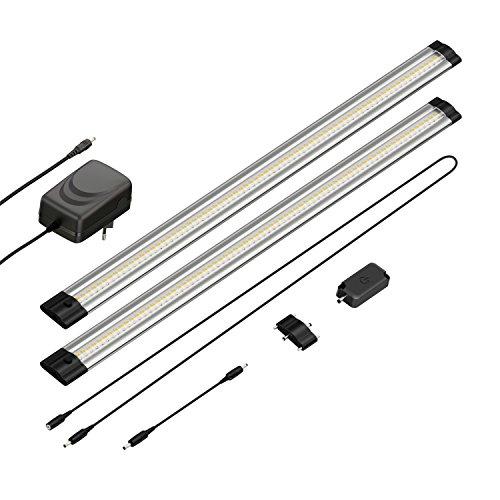 parlat LED Unterbau-Leuchte Siris, Touch-Dimmer, flach, je 50cm, 400lm, warm-weiß, 2er Set