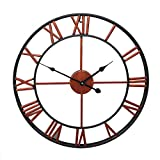 FXM Round Retro Wrought Iron Wall Clock 40Cm Hollow Wall Clock Creative Living Room Decorative Wall Digital Mute Wall Clock