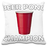 Harma Art Beer Pong Champion Individuelles dekoratives Kissen - 100% Weiches Polyester - Dekoratives Wohnaccessoires