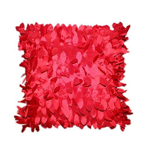 Kissenbezug Bett Kissen Cover sunnymi Einfarbig Art 3D Design Sofa Taille Wurf Home Decor (Rot, 43cm*43cm)