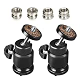 UTEBIT Mini Tripod Ballhead 2 Pack with 4 Pcs Screw Adapter 360 Degree Rotation Small Ball Head Mount with 1/4'' Hot Shoe Mount for Most Dslr Camera, Led Video Light And Tripods