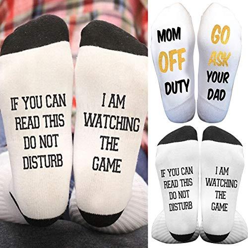 Jinxuny 1 Paar Funky Ankle Baumwollsocken Erwachsene Unisex Bottom Letter Print Lustige Socken Weiche Atmungsaktive Socken für Männer & Frauen (Color : Black+White) -