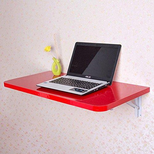 FEI Table pliante, Table murale, Bureau de table à abattant mural, Table de salle à manger en bois cuisine 6 couleurs (Couleur : Rouge, taille : L50*W30cm)