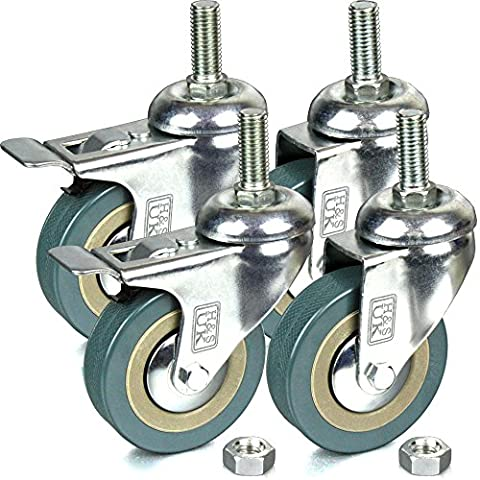 H&S® 4 x Heavy Duty 75mm Rubber Swivel Castor Wheels Trolley Furniture Caster - Screw