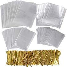 400pcs Bolsas Transparentes Celofán Plástico Pequeñas OPP con 800 Lazos 10cm Dorado para Regalos Dulces Chuches