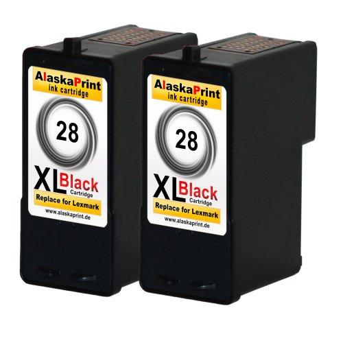 Premium 2x Kompatible Druckerpatronen Als Ersatz für Lexmark 28xl Schwarz Black BK für Lexmark Z1300 X5070 X5075 X5490 X5495 Z1300 X2500 Z1310 Z1320 Z1350 Z845 Patronen 2x28-lex (18c1428 Tinte)