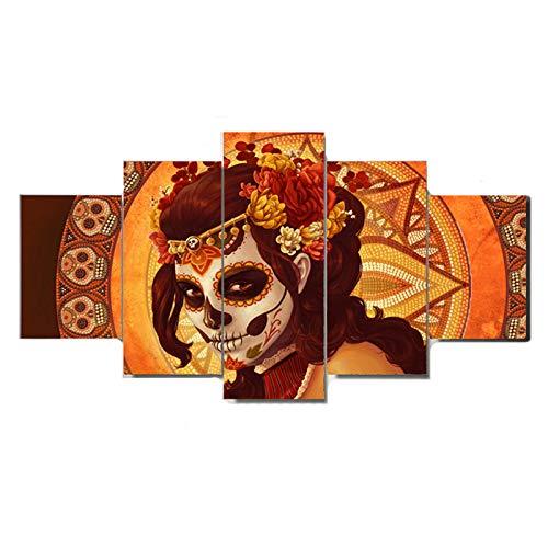 Wandkunst für Wohnzimmer totes Gesicht Gruppe gedruckt Leinwand Malerei Halloween gotischen Frauen Bild Kunstwerk 5 Stück gerahmt Mädchen Poster Dekor bereit zum Aufhängen