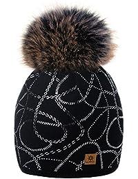b1e1263de7a0fb MFAZ Morefaz Ltd Damen Winter Beanie Strickmütze Mütze Wurm Fleece Design  Ketten Bommel Pom Pom…