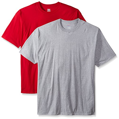 Hanes Tall Beefy t-Shirt a Maniche Corte da Uomo (Confezione da Due) 1 Light Steel / 1 Deep Red