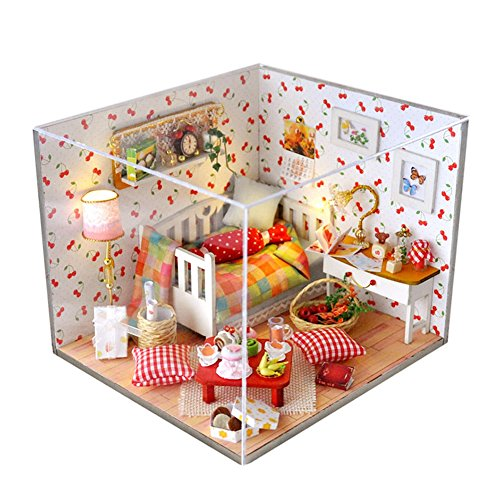 Dollhouse Miniature DIY Dolls House Room Kit with Furniture Handicraft with Dust Proof Cover for Xmas Birthday (Autumn Fruit)