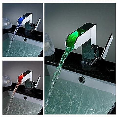 Hanmei beccuccio, stile contemporaneo a LED che cambia colore per lavabo, finitura cromata cascata vasca da bagno rubinetto miscelatore per doccia a foro singolo Lavatory Bar flusso d
