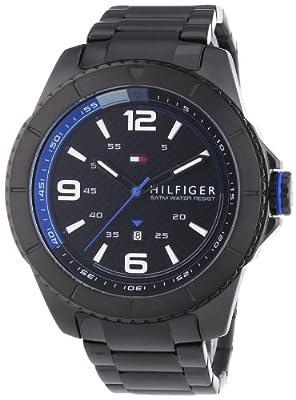 Tommy Hilfiger Ash - Reloj de cuarzo para hombre, con correa de acero inoxidable, color negro