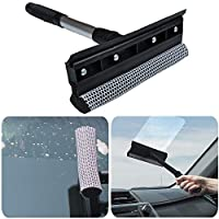 BESLIME Window Squeegee Cleaning Tool Window Cleaner Car Squeegee Windshield Cleaning Sponge and Rubber Squeegee,Black