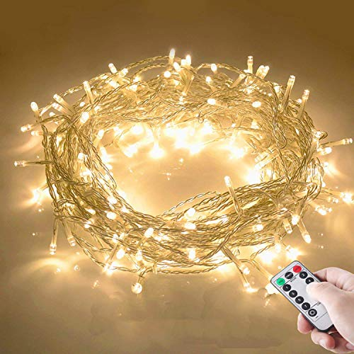 10M 100 LED Lichterkette mit Fernbedienung und Timer 8 Modi Dimmbar Batterie betrieben Lichterkette Außen Innen für Zimmer Weihnachten Weihnachtsbaum Party, Hof - Warmweiß -