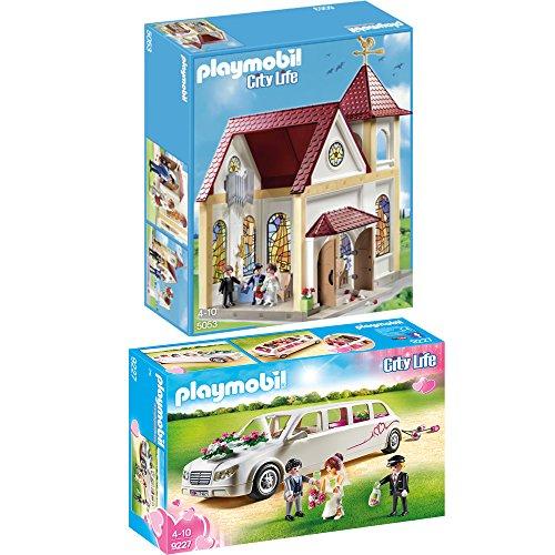Preisvergleich Produktbild PLAYMOBIL® City Life 2er Set 5053 9227 Romantische Hochzeitskirche + Hochzeitslimousine