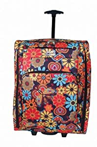 """Womens & Mens & Girls, 22""""SIZE 55cm X 40cm X 20cm (PLUM WITH MULTI COLOURED FLOWERS) Wheeled Hand Cabin Flight bag 22inch, suitable for Ryanair, Easyjet, BMI, BA, Virgin (55 x 40 x 20 cm) (PLUM with Multi Colour Flowers) 22"""" inch,TELESCOPIC HANDLE, PUSH BUTTON HANDLE MECHANISM, Handle Telescopic metal Tube, Wheeled Holdall,Due to its lightweight construction and sensible size it makes a perfect cabin bag for many airlines.((Theses Wheeled Maternity/Overnight Bags Are Ideal For Packing All Your Essential Hospital Items For Both You And Your Baby)"""
