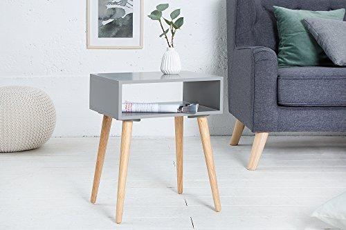 DuNord Design - Comodino Quadrato in Legno di Rovere Massiccio, Modello Stockholm, Colore: Grigio