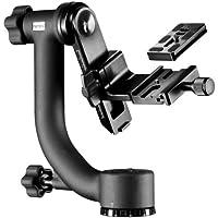 "Mantona Gimbal TK-I - Cabezal para trípode para teleobjetivos (incluye zapata de cambio rápido, conexión 3/8""), negro"