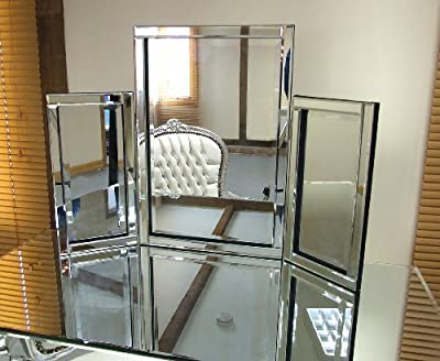 Dressing Table Mirror Modern Clear Venetian Tri-Fold Free Standing Bedroom - cheap UK dressing table store.