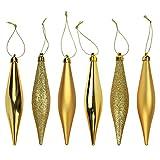 6 Weihnachtsbaum Deko Hänger Bruchsichere Eiszapfen 14cm Lang- Gold