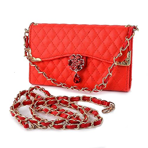 Für Samsung Galaxy Note 5 Fall Luxus Strass Diamant Bling 3D Blume Flip Leder Frauen Handtasche Stil Gesteppt PU-Leder Karte Halter kurz + lang Gurt Chain Wallet Fall, Handbag Red (Strass Nexus 6 Phone Cases)